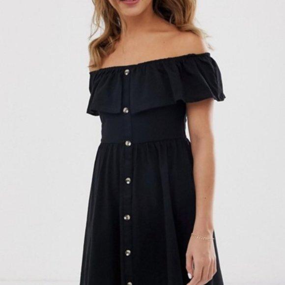 ASOS | black button off the shoulder dress